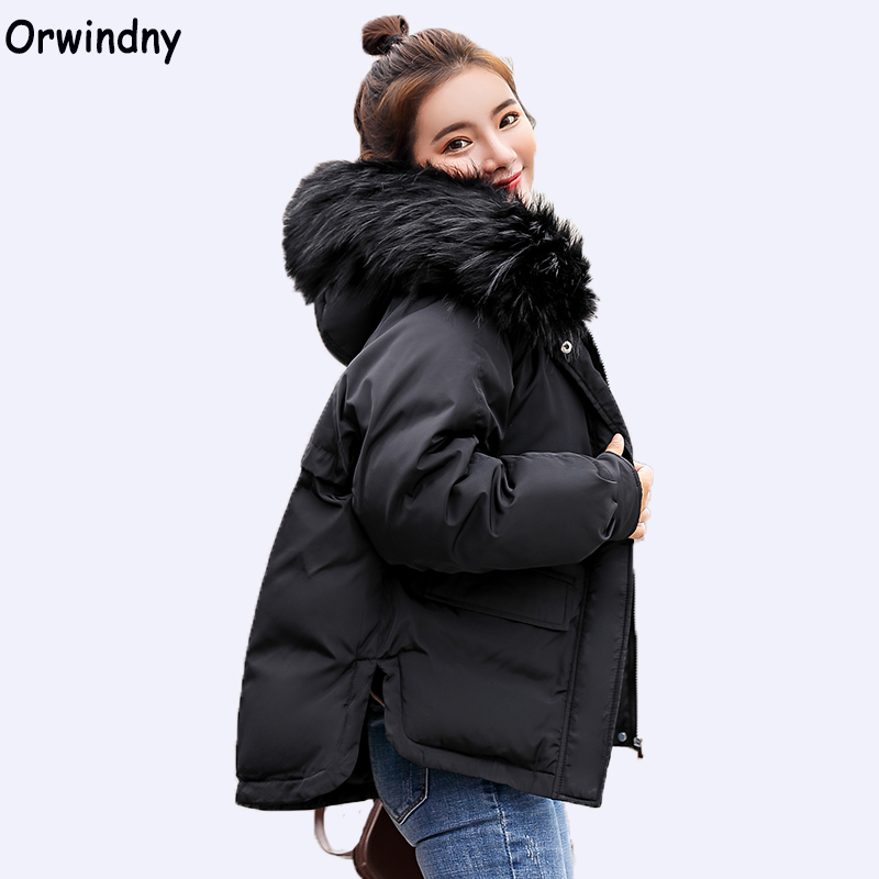 Orwindny 2019 Short Women Parkas Female Winter Jacket Outwear Thickening Warm Clothing Down Cotton Loose Coats Big Fur Collar