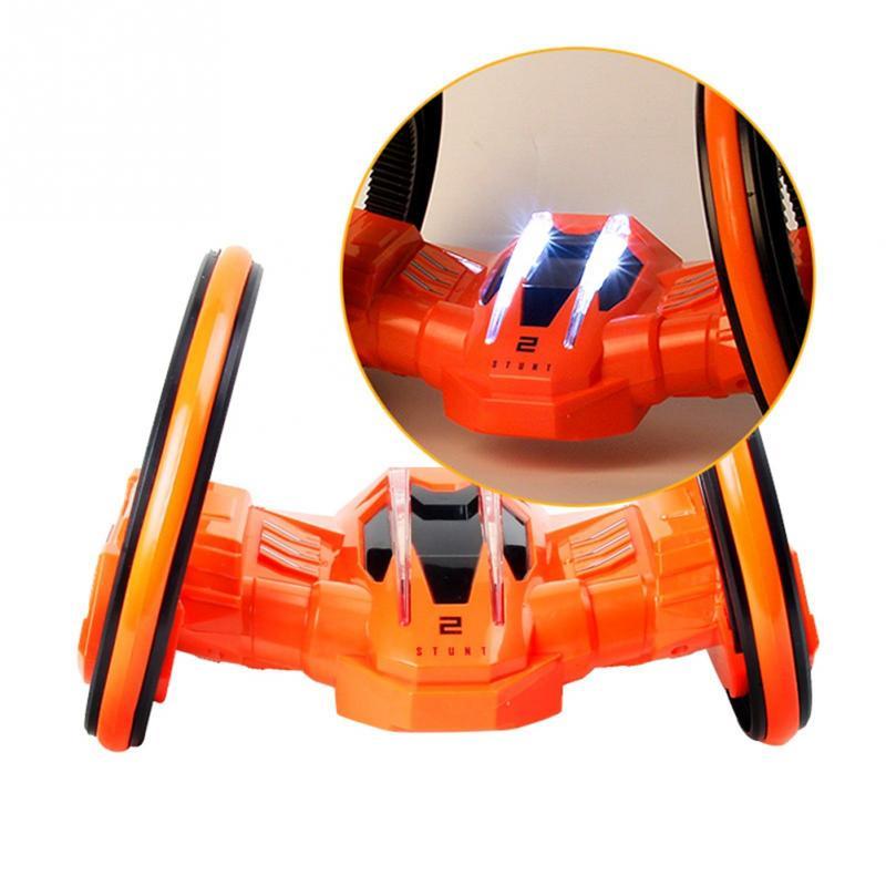 2018 NEW Remote Control Car White EU plug Radio RC Stunt Rotation Spinning Buggy Flips Toy Orange
