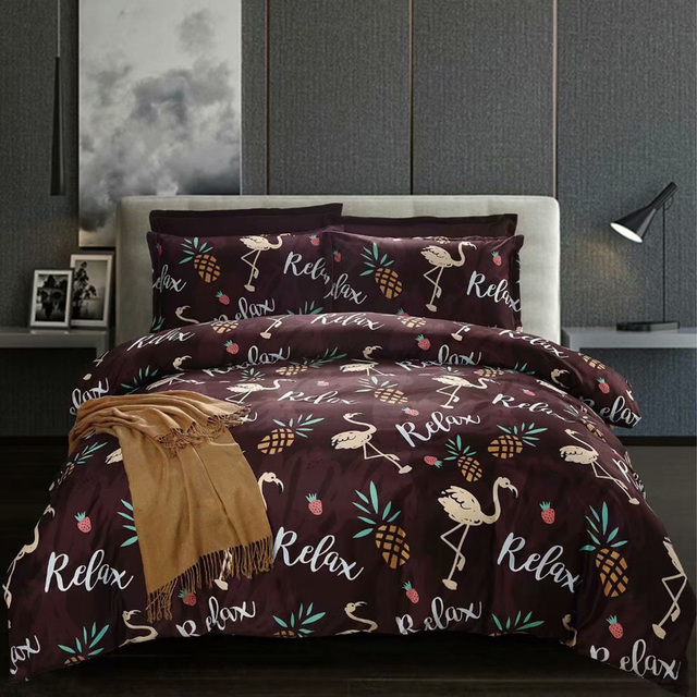 Pineapple flamingo Bedding Sets Russia Europe Single Double Duvet Cover Set 220x240 Queen King Bed Linen Set Bed Set Bedclothes