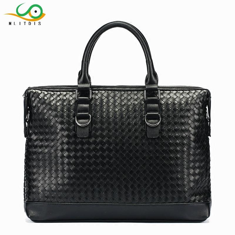 MLITDIS Fashion Men Handbags Briefcase Male Weave Pattern 14inch Laptop Computer Bag Soft Leather Men Bag Business Messenger Man