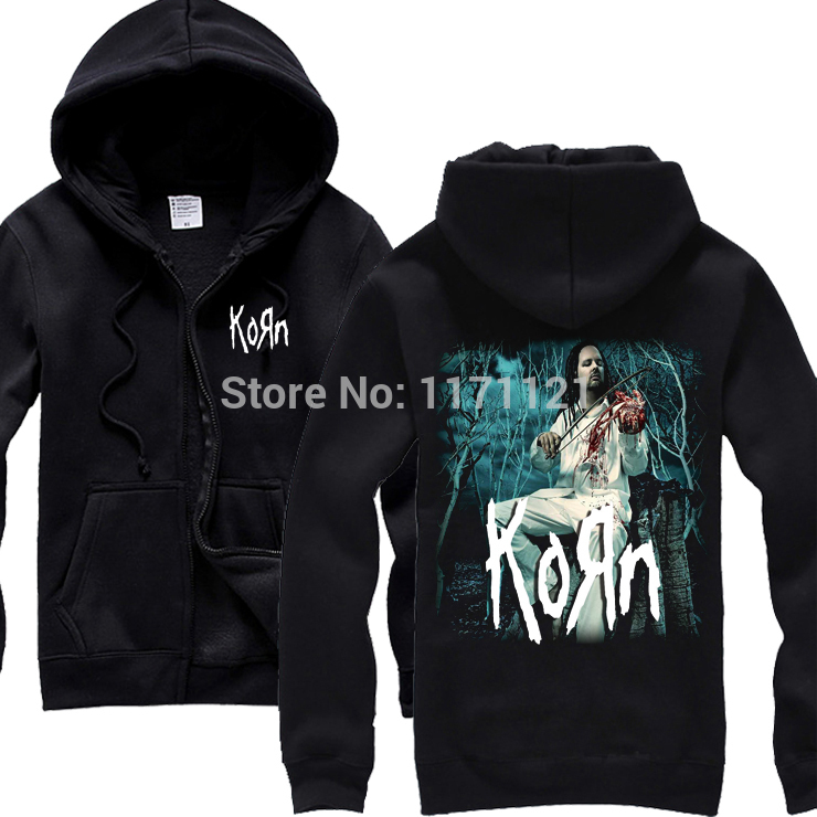 Free shipping Korn Sick / coming undoneand album cover Twisted Tour Rock Mens black hoodie