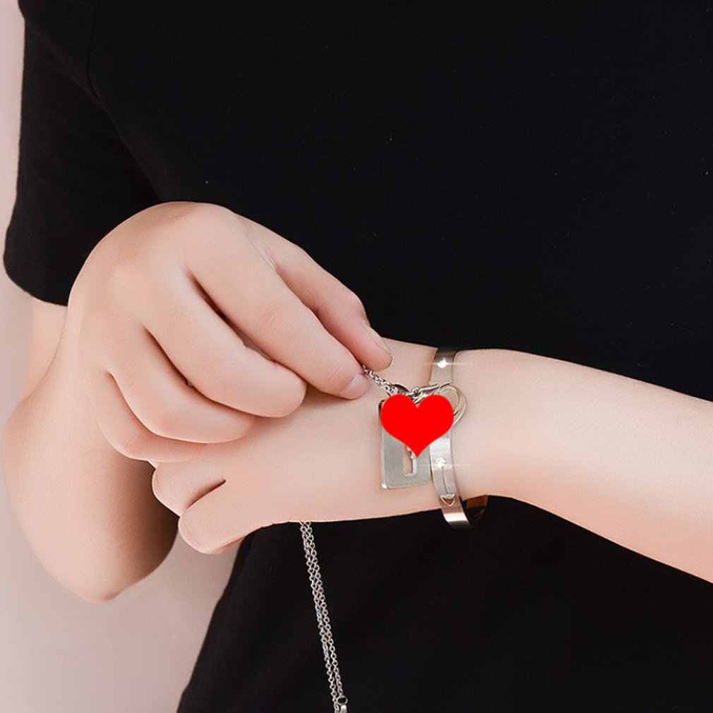 טיטניום פלדה אפרסק לב צמיד מפתח שרשרת זוג שלובים קונצנטריים מנעול נייד נוח