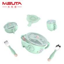 Children dishes set Baby tableware Kit Stainless feeding bow