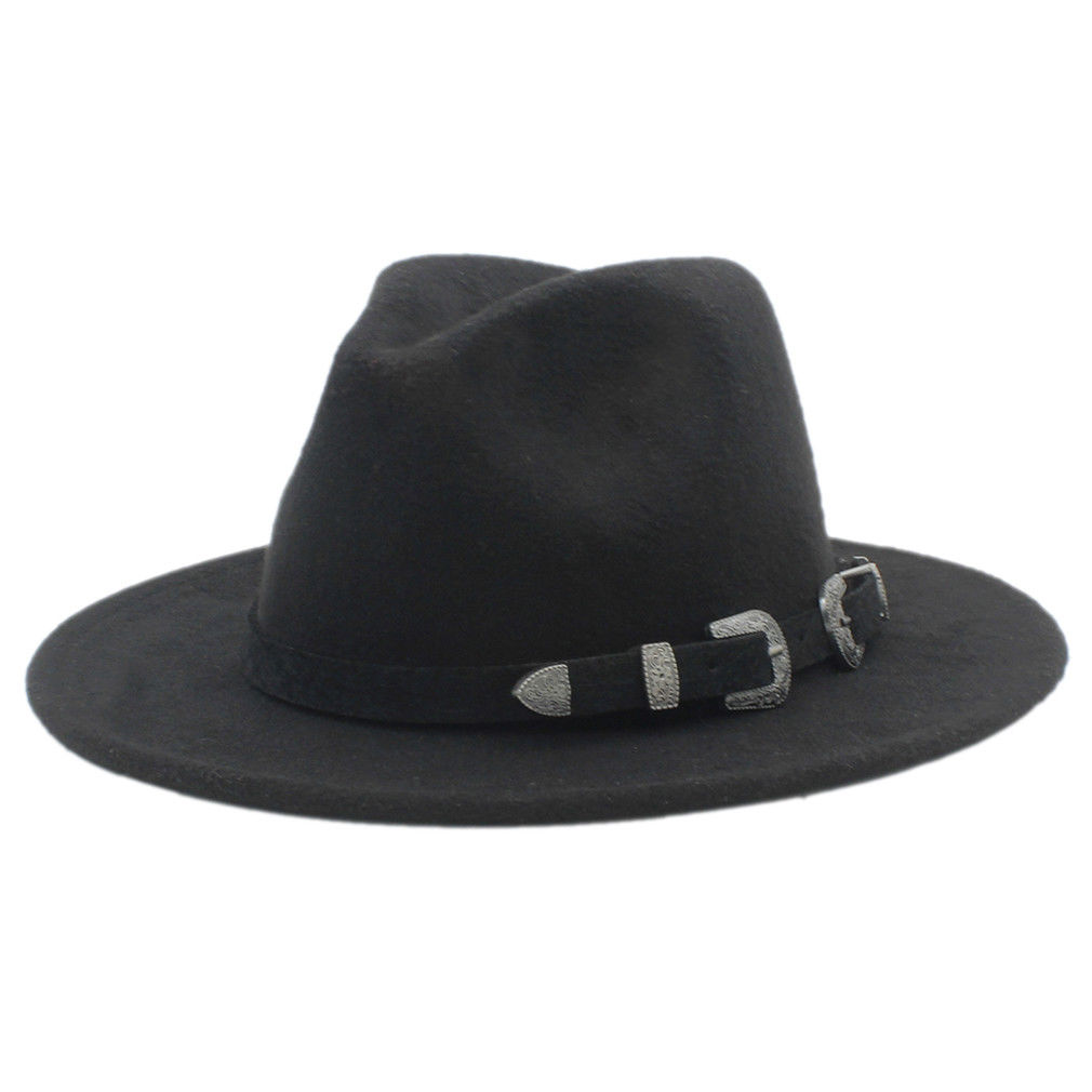Fashion Women Men Wo Panama Hat Stiff Wide Brim Jazz Church Fedora Cap Black  Leather Belt Band Solid Color 151238d3561