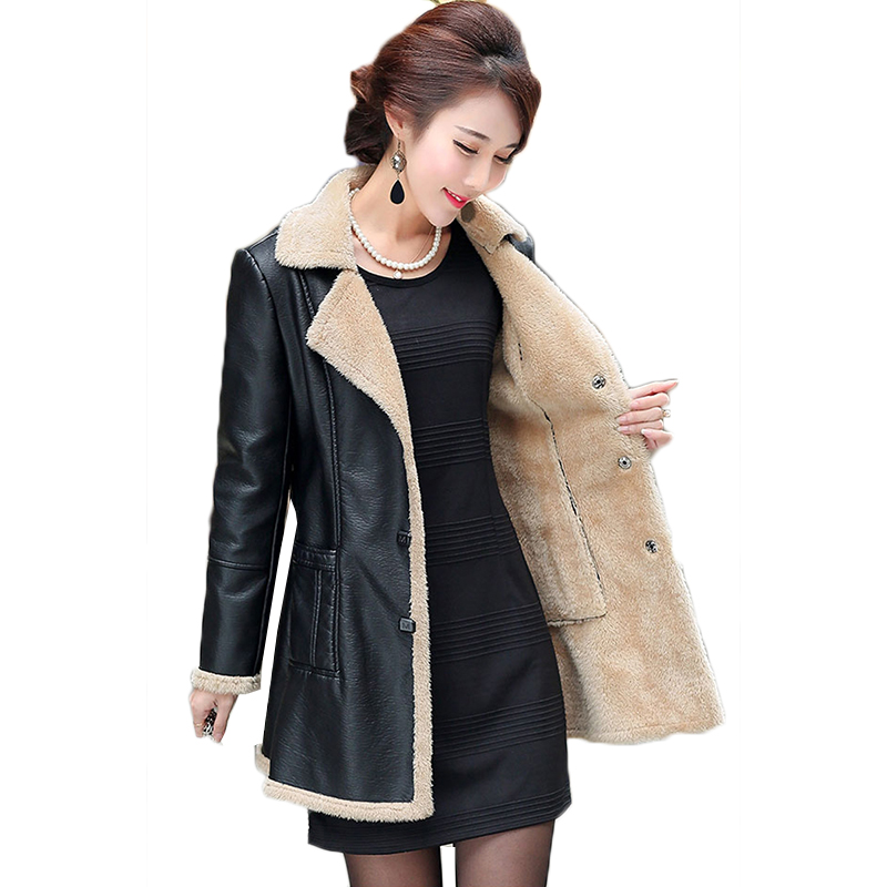 2019 Winter Warm   Leather   Coats Women Medium Long Thicken   Leather   Jacket pu with fur jacket female motorcycle PU   leather   jacket