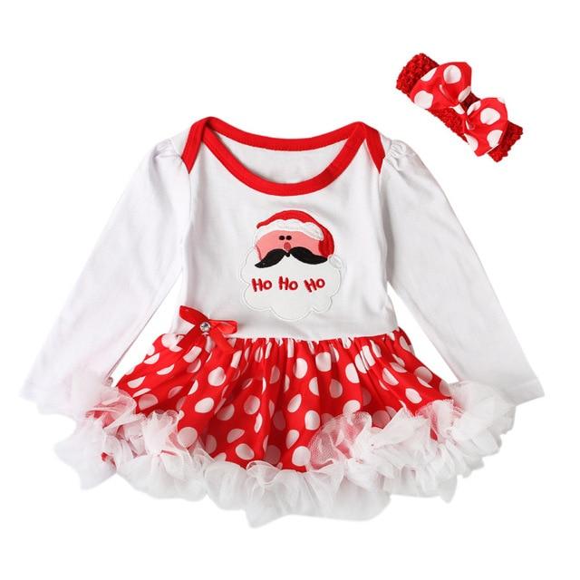 newborn baby christmas bodysuit tiny cottons autumn santa claus lace tutu dress headband 2pcs set jumpsuit