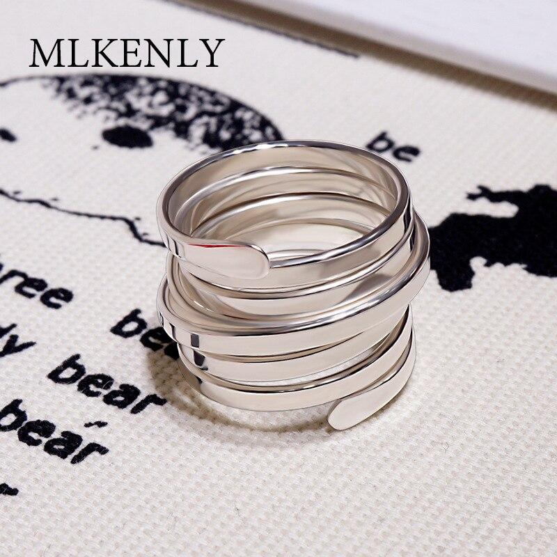 MLKENLY rétro Style coréen Multi couches anneau véritable 925 en argent Sterling Vintage anneau irrégulier torsion femelle anneaux d'ouverture