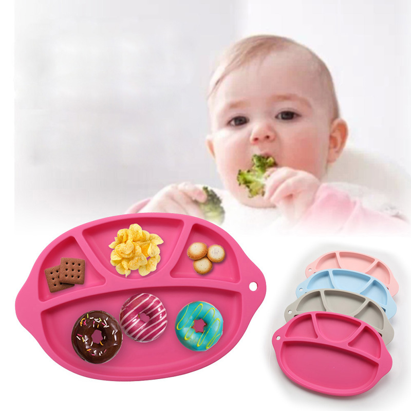 Food Grade Silicone Baby Feeding Plate Separated Tableware Children Integrated Dinnerware Baby Vegetable Fruit Plate Dishes Bowl
