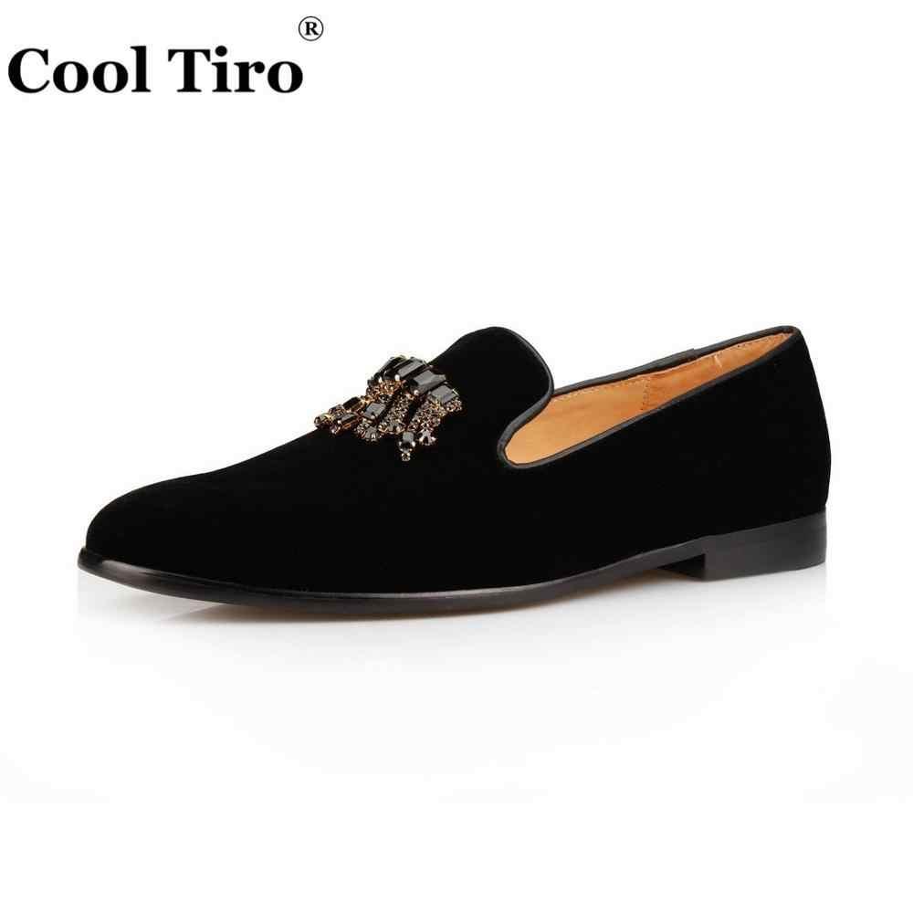 99f1ed08c0dbb ... Cool Tiro Men's Velvet Shoes Crystal Brooch Tassels Loafers Men Dress  Shoes Smoking Slippers Moccasin Real ...
