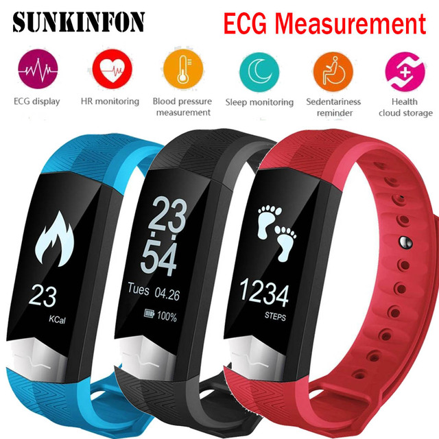Bluetooth Smart Wristband ECG Display Heart Rate Blood Pressure Monitor Fitness Smart Band Bracelet for Samsung Galaxy S8 Plus