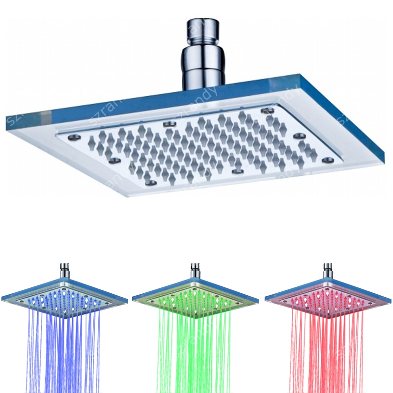 8 inch glass Temperature detective no need battery lighting restricted flow showerhead(Blue Green Red)