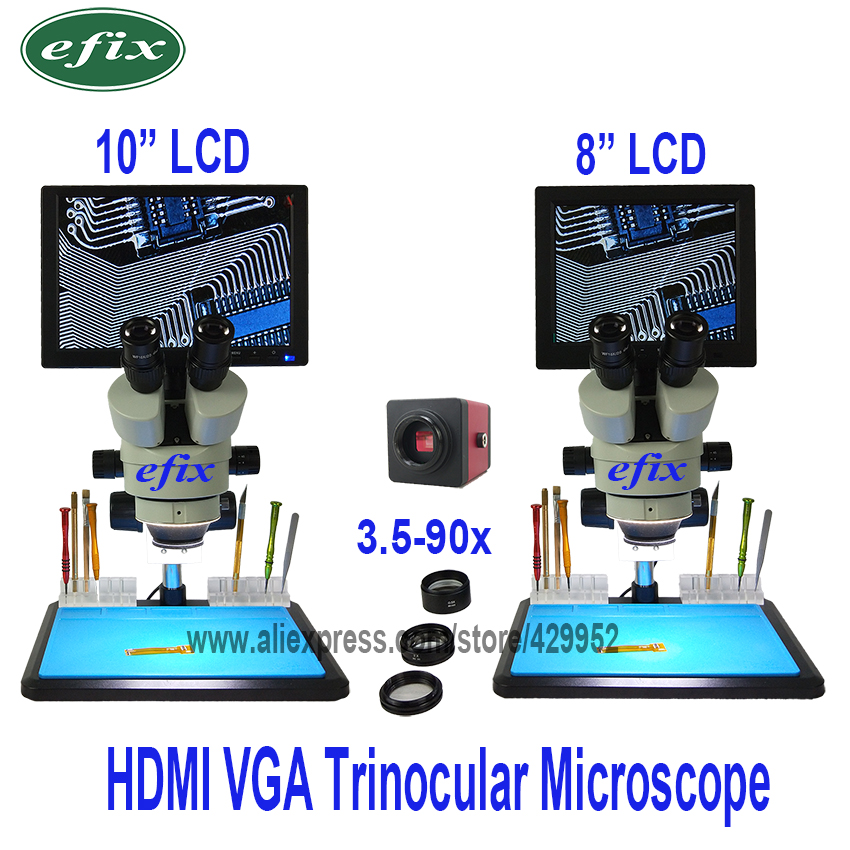Efix 10 8 HDMI LCD Continue Zoom Trinoculaire Stéréo Microscope HD VGA Caméra Grand Établi Téléphone De Réparation De Soudure outils