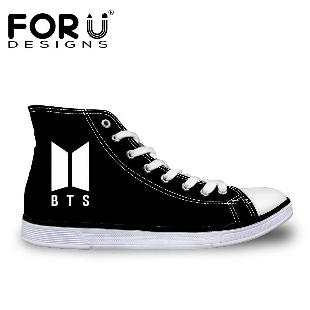 FORUDESIGNS High Top Canvas Shoes or Women Kpop BTS Print Lace-up Vulcanize Shoes Sneaker Flat Zapatillas Mujer Big Size 35-45 eyelet lace botanical print top