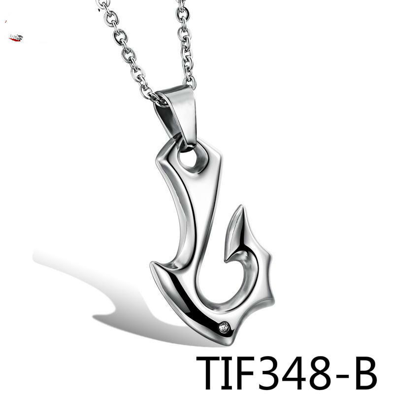 Supplies European Ornaments Wholesale Personality Trend Fish Hook Small Commodities Man Pendeloque Cut Necklace TIF348