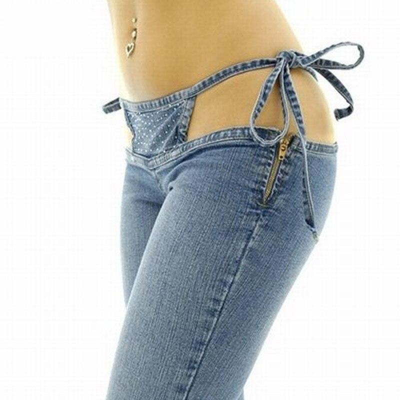 Haute Qualité Promotion de Femmes Mince Ultra Taille Bikini Jeans De Mode Cordon Pantalon Fusées Pantalon Confortable