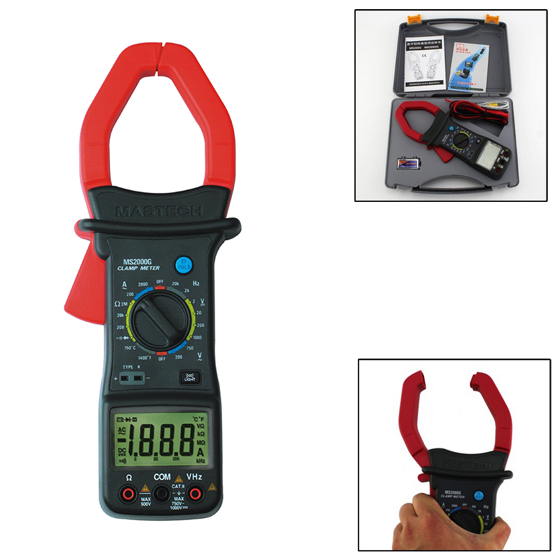 1pcs MASTECH MS2000G 1999 count Digital Clamp Meter Current AC DC Voltage Resistance Temperature Tester  цены