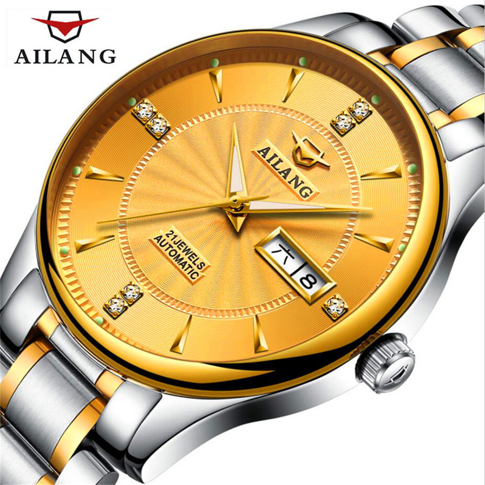 Hot Sale AILANG Classic Mens Watches Top Brand Luxury Automatic Mechanical Watch Fashion Male Clocks  Stainless steel Gold Watch top sale stainless steel mug automatic stirring mug automatic stirring 350ml with lid handle button design keep warm green