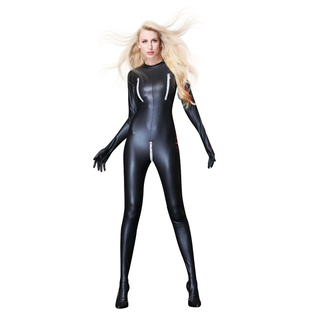 Coat of paint Open Crotch Jumpsuit Fitness Leotard Night Club Bodysuit Sexy Cos Costume
