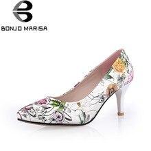9de8f21005f Zapatos de boda para fiesta de tacón alto con estampado de flores para  mujer BONJOMARISA 2018 puntiagudos sin plataforma tamaño .