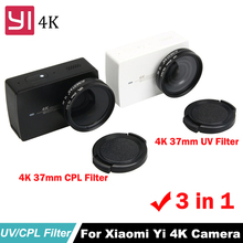 цена на Xiaoyi 37mm CPL+UV Lens Filter for Xiaomi YI 4K  Yi 2 Yi Lite Lens Protective Cap Adapter Ring Action Sports Camera accessories