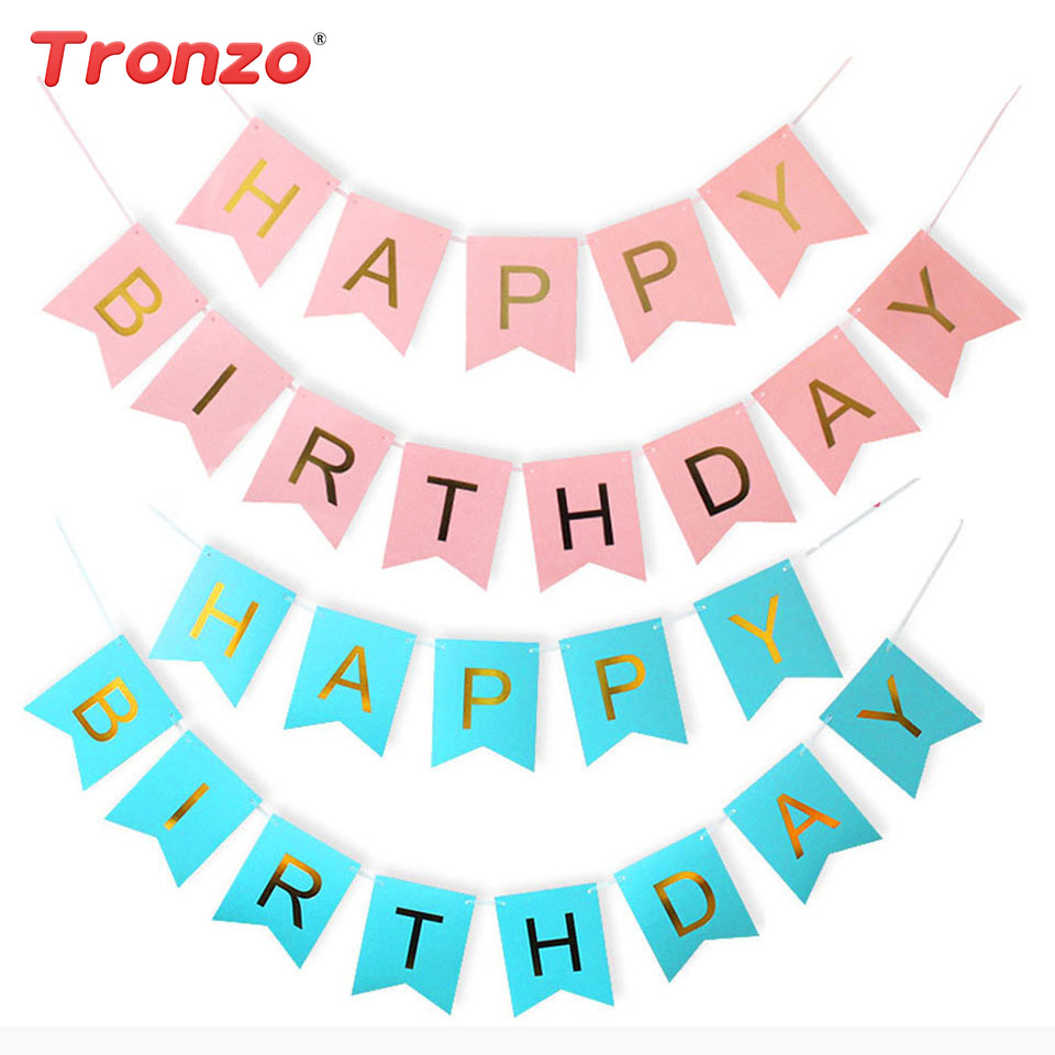 Tronzo 3M 12*15CM Happy Birthday Bunting Banner Glitter Pink Letter Paperboard Garlands Flags Children Favors Baby Shower Decor