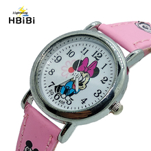 2019 New listing ! Hot Sell Cartoon kids Watches Children Boys Girls Clock Minnie Watch Casual Leath