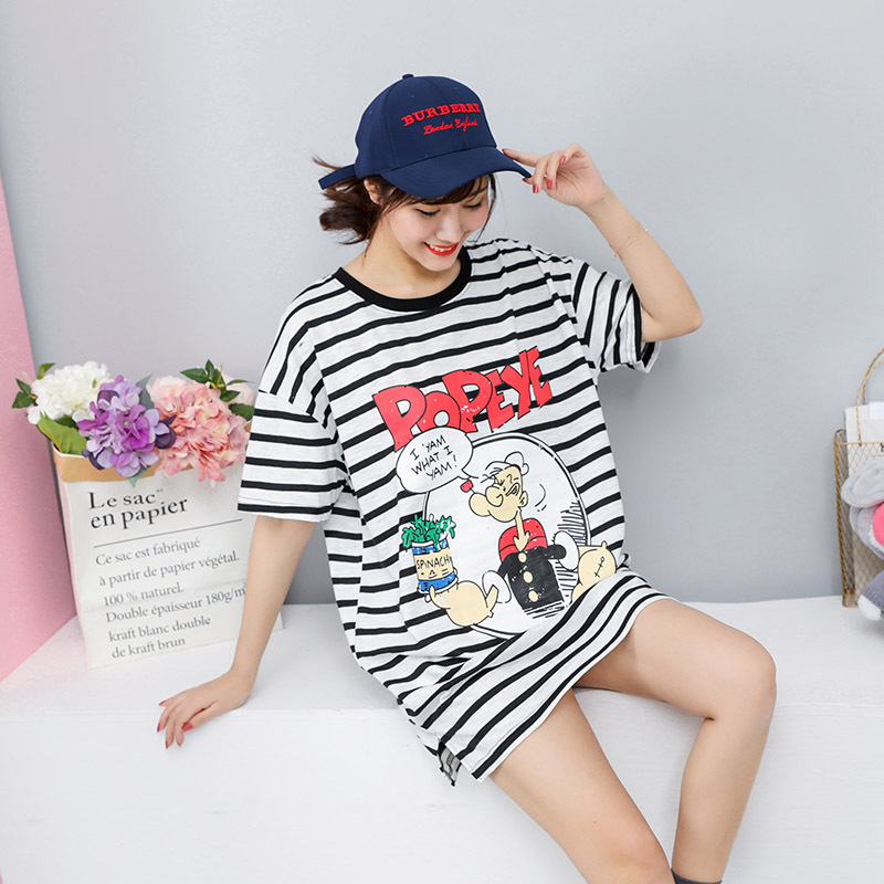 2019 Summer New Arrival Stripe Pockets Plus Size Women Tshirts Short Sleeve Top Loose Tee Shirts Chic Casual Tees Free Shipping