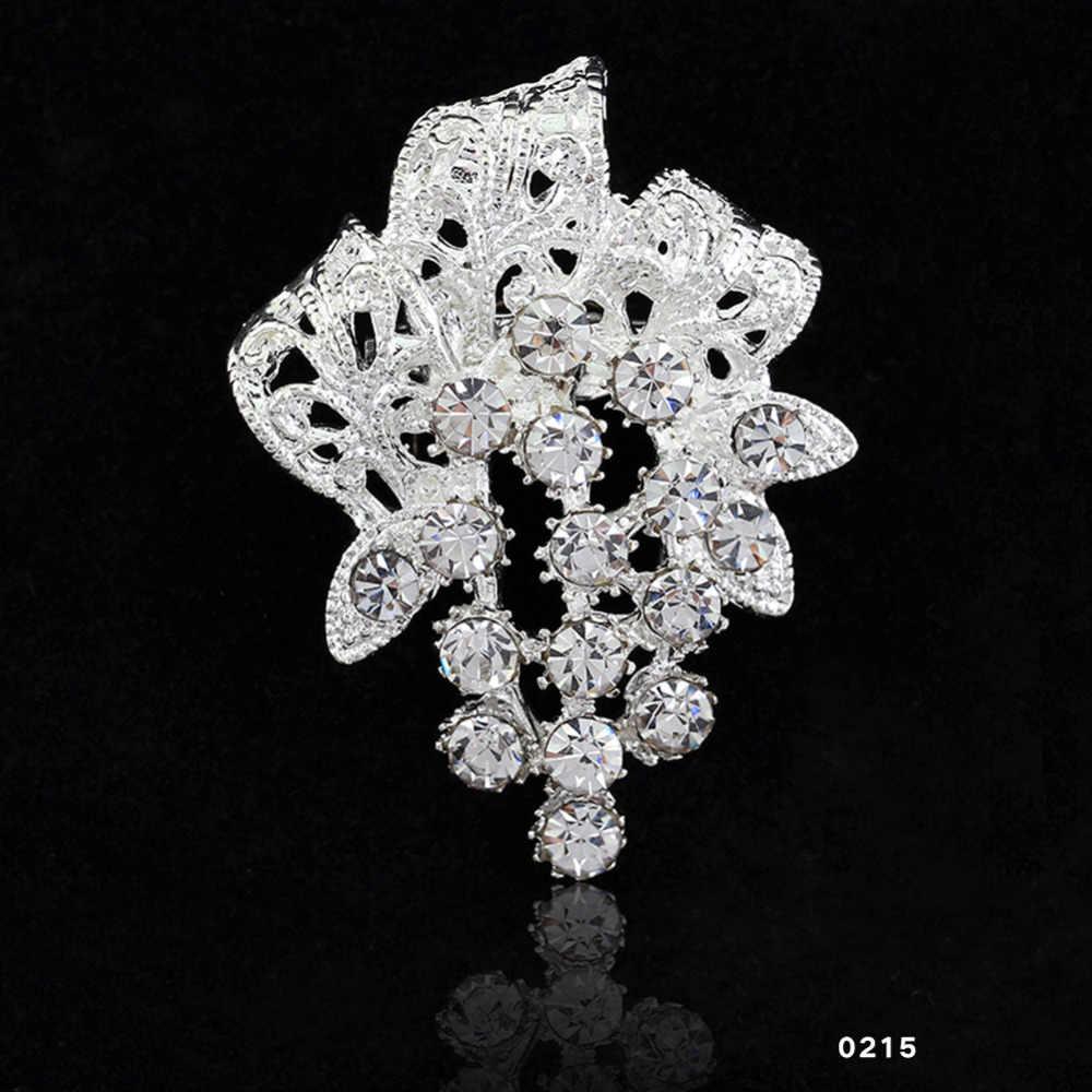 2018 encantadora joyería nupcial ramo flor patrón broche Pin diamantes de imitación incrustaciones cristal mujeres boda broches 13 tipos