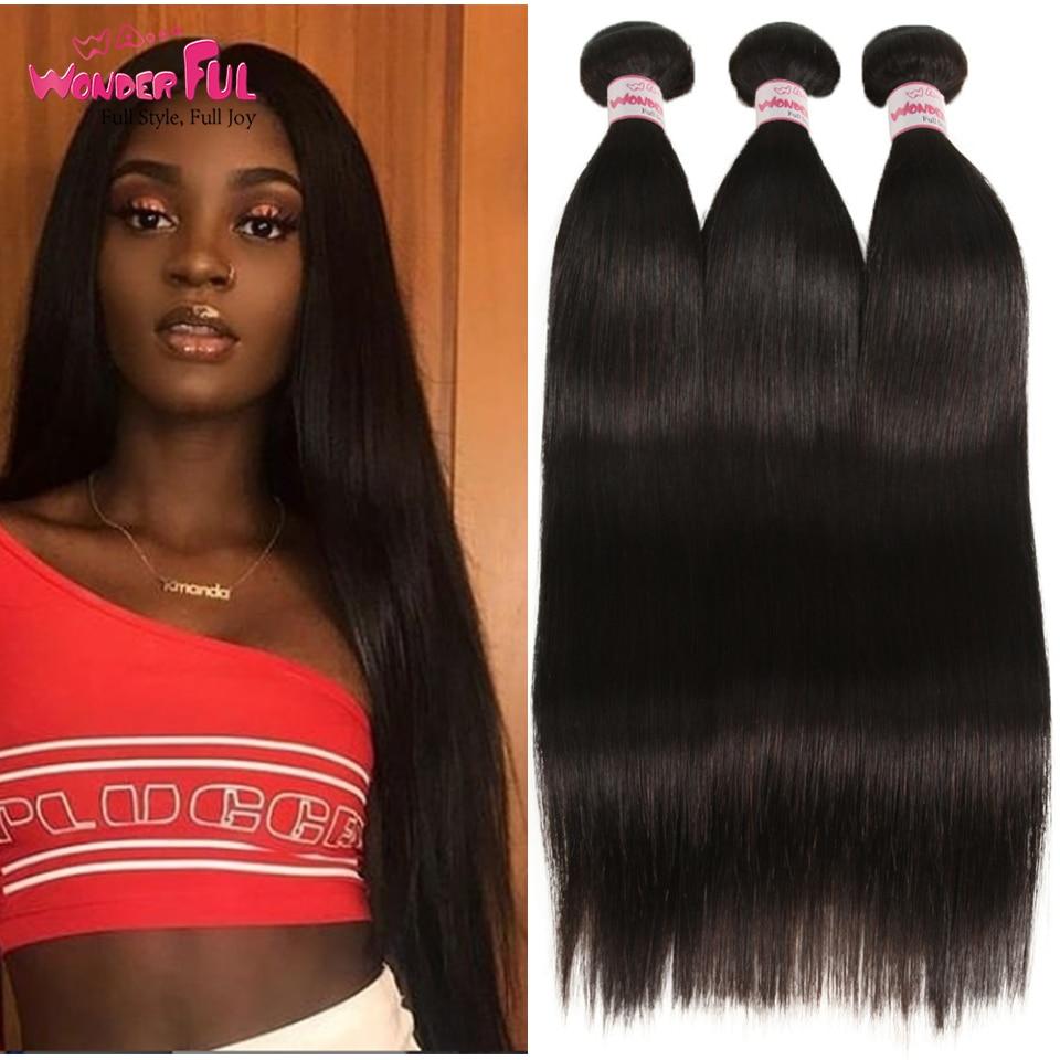 Straight Hair Weave Bundles Natural Color Peruvian Human Hair Bundles Remy Hair Extensions Can Buy 3/4 Bundles