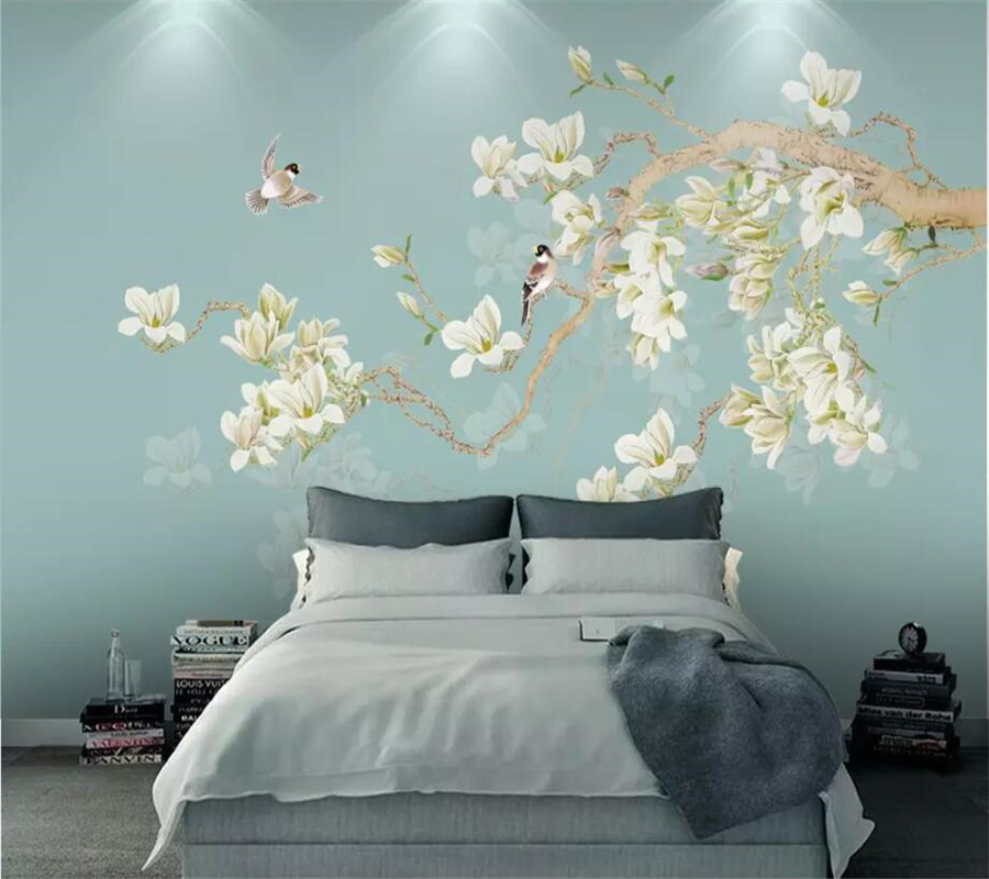 Beibehang Custom Wallpaper 3d Gong Yu Magnolia Tv Background Wall Hand-painted Flowers And Birds New Chinese Wallpaper 3d Mural Packing Of Nominated Brand Wallpapers Painting Supplies & Wall Treatments