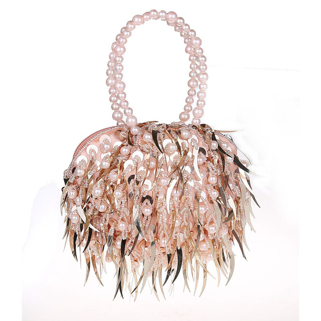 Wholesale Ladies Sequined Pearl Beading Hand Bags Vintage Lady Evening Clutch Bag Fashion Tassel Clutches Party Purse XA366H