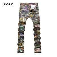 2017 New Men S Fashion Print Jeans Casual Slim Fit Fancy Painted Denim Pants Long Trousers