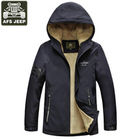 AFS JEEP Brand 2018 Winter Jacket For Men Thick Warm Wool Liner Jackets Men Solid Hooded