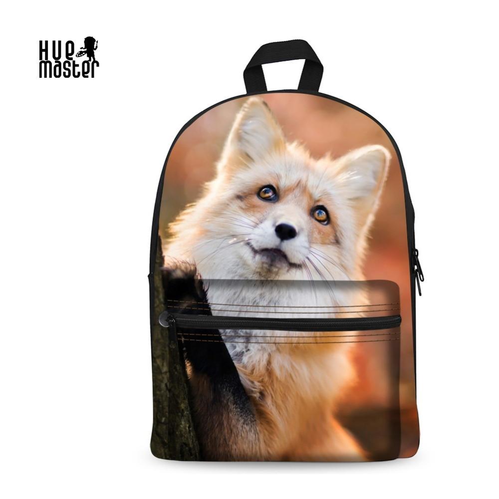 все цены на Backpack For Teens Fashion Cute Fox Backpack  3D Custom Print School Backpacks Fluffy School Bags For Boys Girls