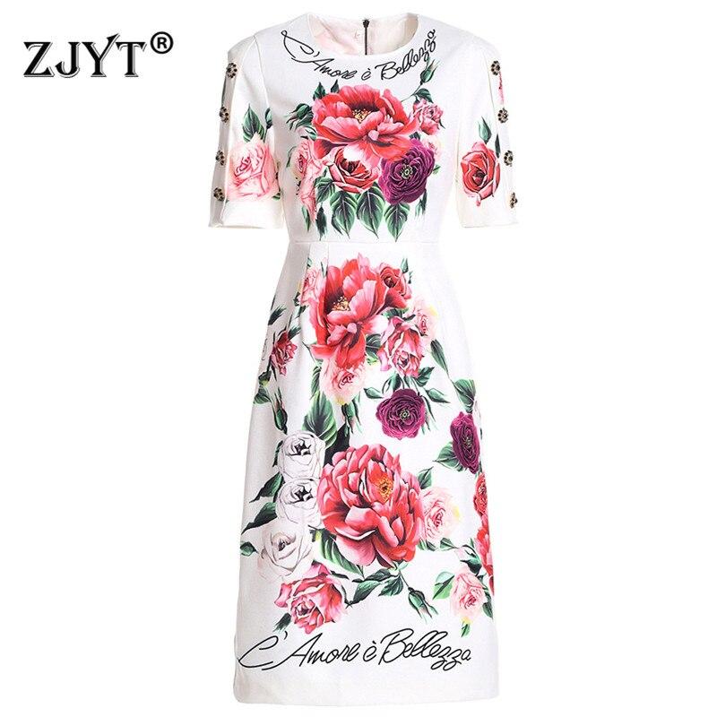 High Quality Designer Runway Dress 2019 Summer New Women Elegant Short Sleeve Floral Print Casual Straight