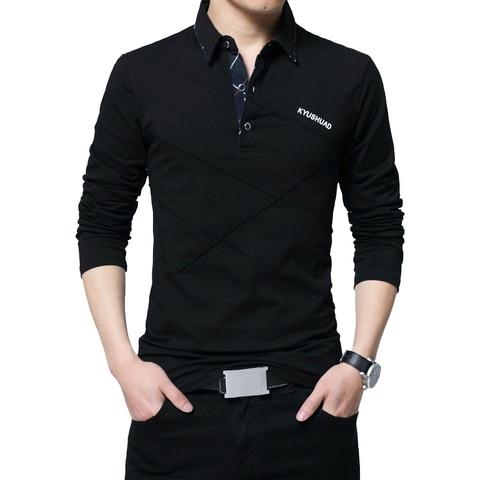 TFETTERS Brand T Shirt Men Long T-shirt Turn-down Stripe Designer T-shirt Slim Fit Loose Casual Cotton T Shirt Male Plus Size Multan