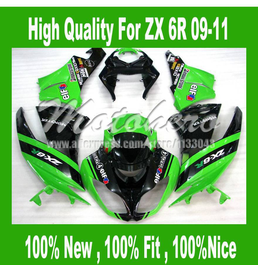 Free custom ZX6R Fairing for Kawasaki NINJA ZX 6R 636 2009 2010 2011 ZX 6R 09 10 11 ZX-6R 636 09 10 11 fairings Kit green black