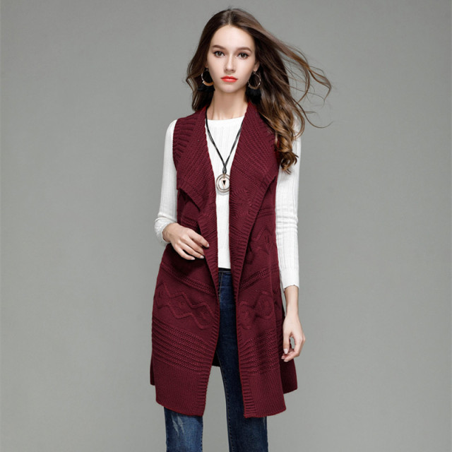 4d3732123ef40 women 2018 fall cardigan knitted sweater vest plus size long womens  cardigans autumn loose cable knit sweater coat casual 607137