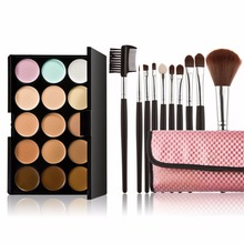 15 Colors Pro Makeup Concealer Cream Palette + 10 Pcs Makeup Brushes Base Foundation Face Powder Blush Brush Cosmetic Set Tools