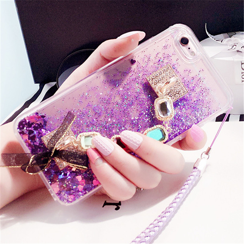 For Iphone 5s Se 6 6s 7 8 Plus X Xs Max Xr Bling Diamond Liquid Sand Quicksand Phone Case Gem Bracelet Bow-knot Soft Back Cover Rhinestone Cases