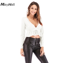 MayHall Autumn Long Sleeve V-Neck Sexy Woman Top Ruffles Solid Color Slim T-shirt Topos das mulheres MH373