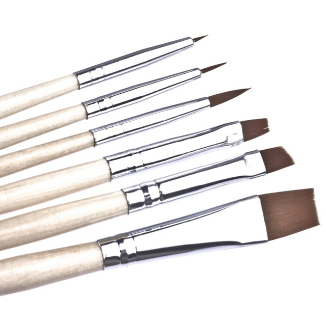 6 piezas pinceles de maquillaje artista o bien el pelo de Nylon cepillo de pintura de acuarela acrílico aceite pinceles de pintura herramientas de dibujo nuevo 2018