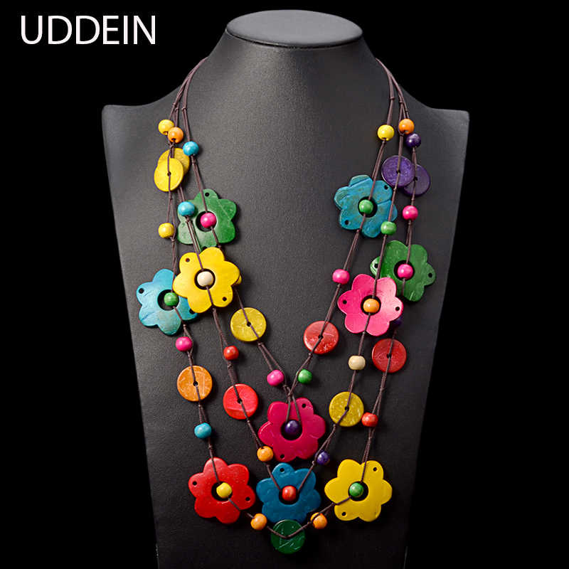 UDDEIN Bohemian maxi necklace for women party jewelry multi layer wood tassel pendant statement choker flower necklace collar