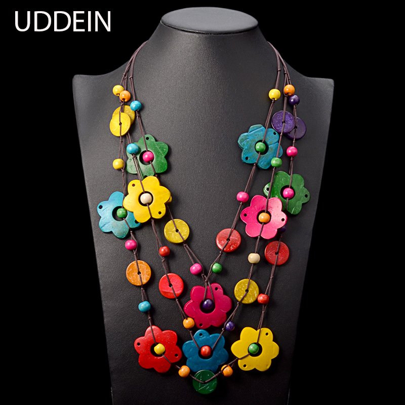 UDDEIN Bohemian maxi necklace for women party jewelry multi layer wood tassel pendant statement choker flower necklace collar gorgeous flower rhinestone bead tassel alloy pendant necklace for women