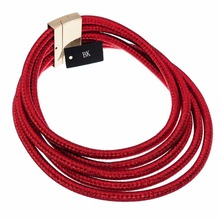 Multi Color Fashion BK Jewelry Red Rope Magnetic 5 Layers Strands Choker Statement Necklace