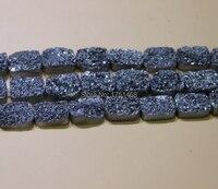 Drusy Druzy Electroplate Black Titanium Square Druzy Stone Quartz Bead Pendants Top Drilled Drusy Slab Bead Jewlery Making