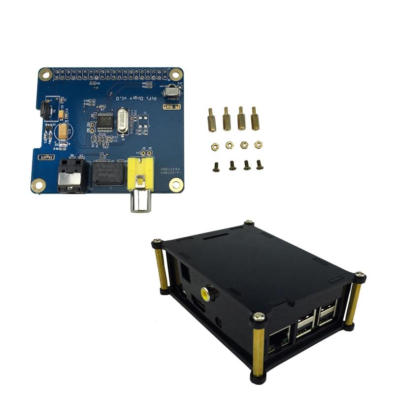 Raspberry Pi 3 Digital Audio Sound Card Expansion Board  HIFI DiGi  I2S SPDIF + Acrylic Case Box Support Raspberry Pi 3 Model B+