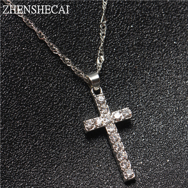 Collier Femme New Fashion Silver Color Cross Necklaces & Pendants Collares for W