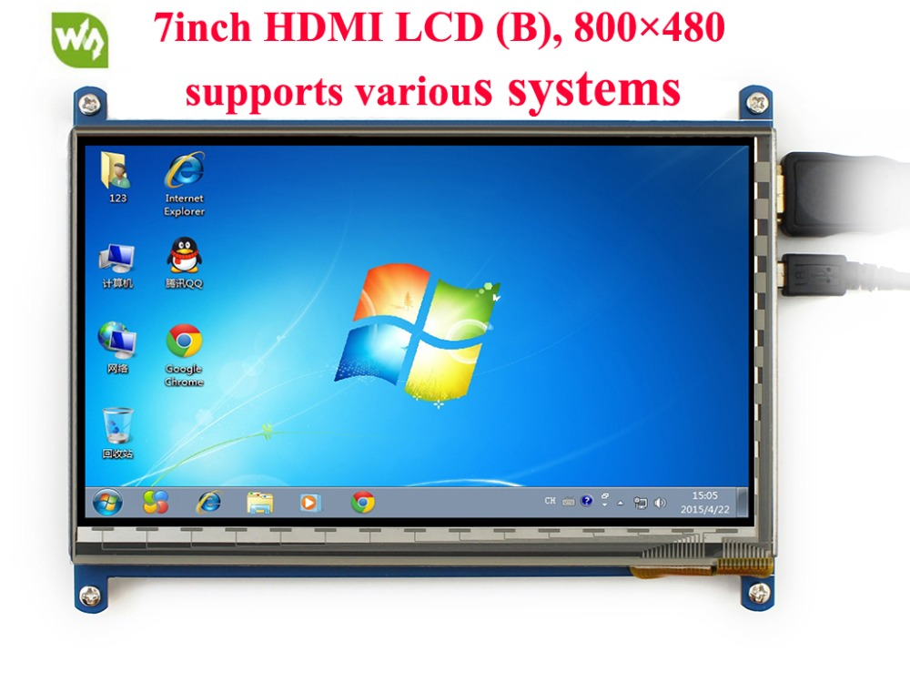 Waveshare 7inch HDMI LCD (B) 800*480 Capacitive Touch Screen HDMI Interface for Raspberry Pi BB Black and Banana Pi/Pro modules micro pc 7inch hdmi lcd c raspberry pi 1024 600 capacitive touch screen display supports bb black&banana pi pro various