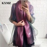 KXMZ Double décoloration foulard de soie organza de soie, Spécial or et argent fil, Haute-qualité foulards de soie, robe châle FL060